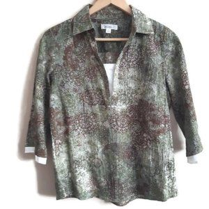 Dressbarn | mottled green and brown top